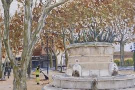 La fontaine sur la places des Lices