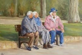 Les amis sur le banc